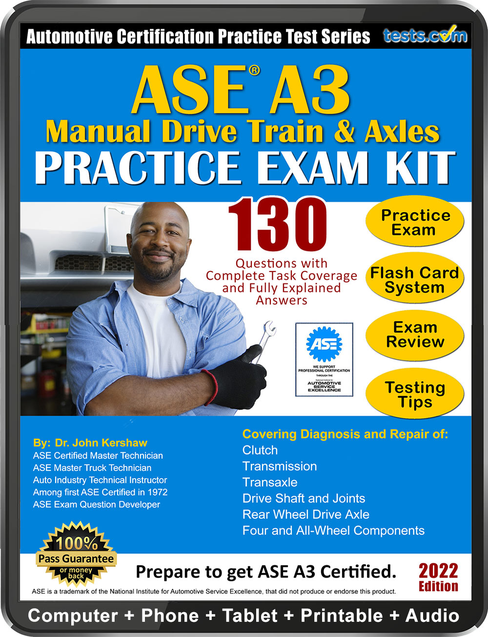 ase practice test a3 questions certification tests exam answers study kit a2 guaranteed expert pass written material money